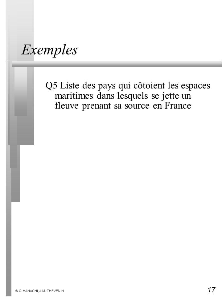 Exemples Q5 Liste des pays qui côtoient les espaces maritimes dans lesquels se jette un fleuve prenant sa source en France.