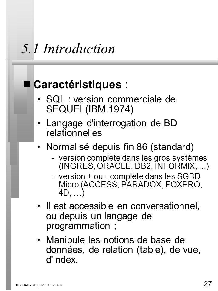 5.1 Introduction Caractéristiques :