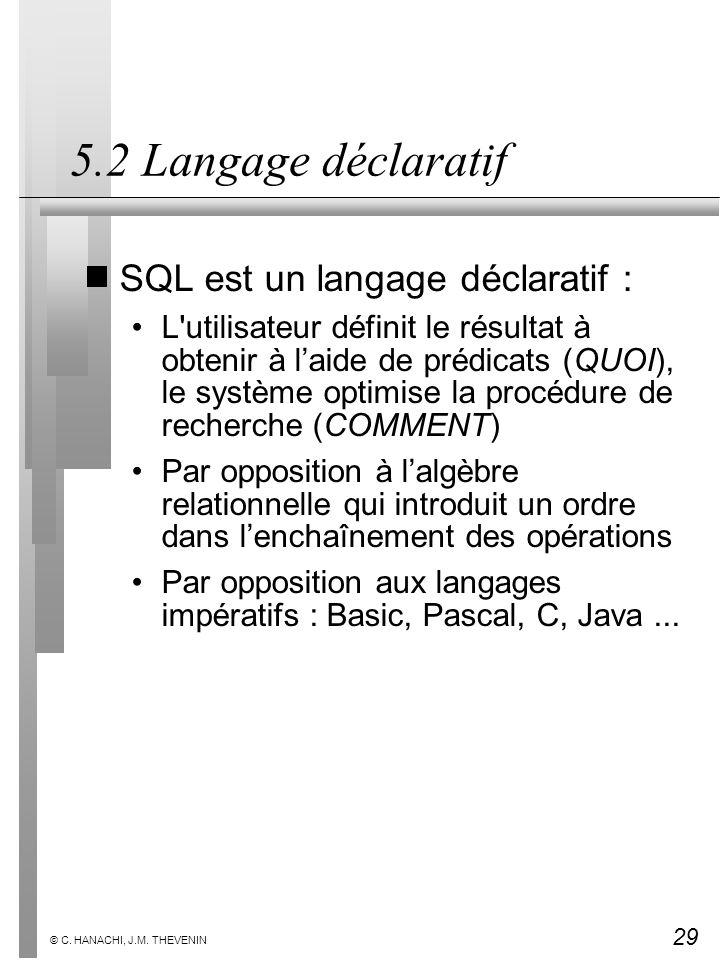 5.2 Langage déclaratif SQL est un langage déclaratif :