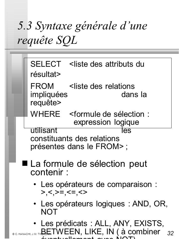 5.3 Syntaxe générale d'une requête SQL