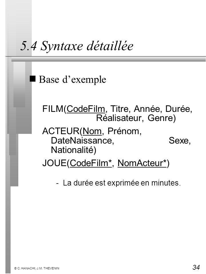 5.4 Syntaxe détaillée Base d'exemple