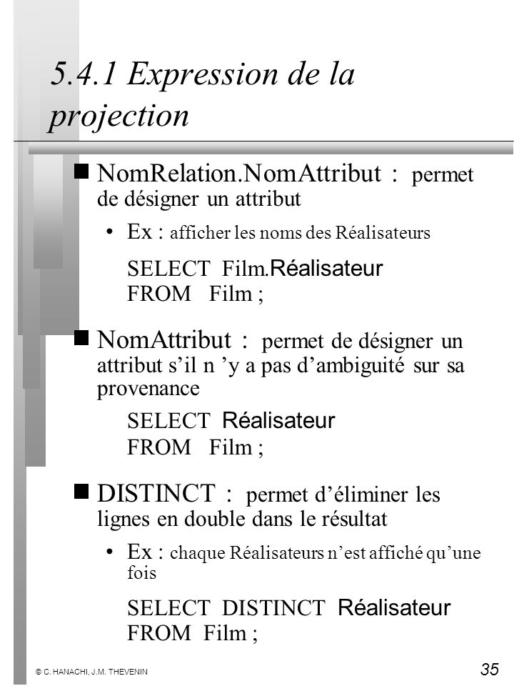 5.4.1 Expression de la projection
