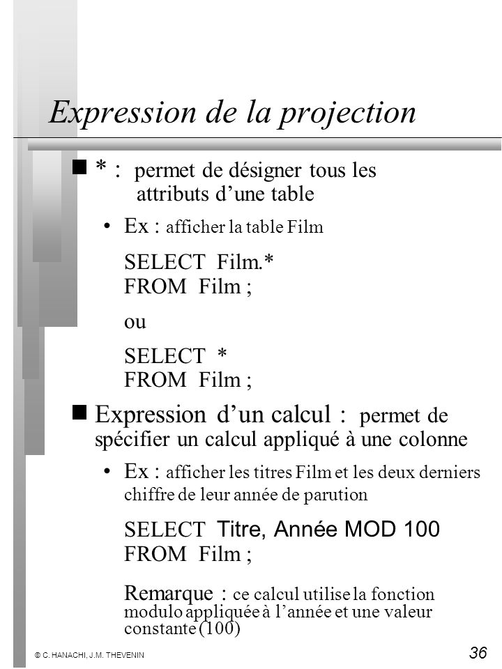 Expression de la projection