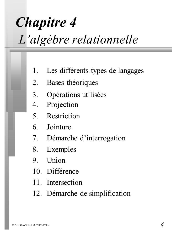 Chapitre 4 L'algèbre relationnelle