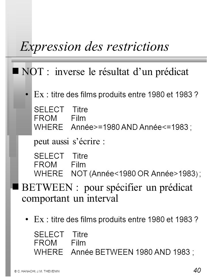 Expression des restrictions