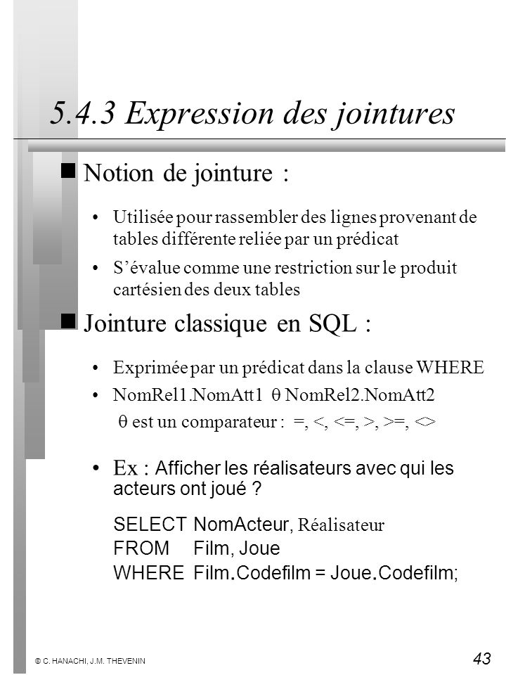 5.4.3 Expression des jointures