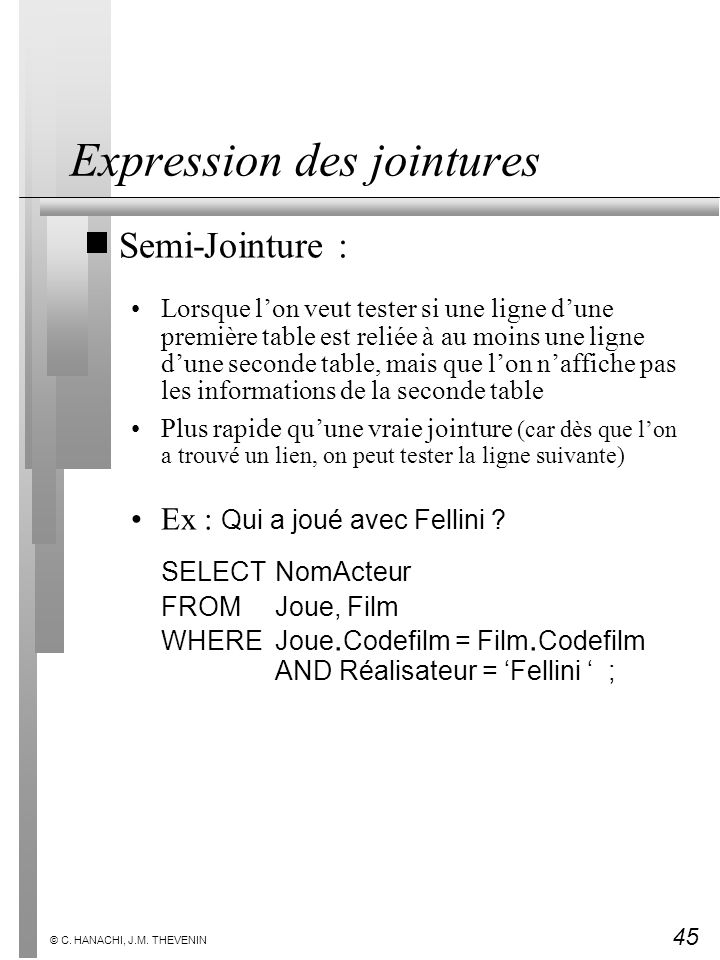 Expression des jointures