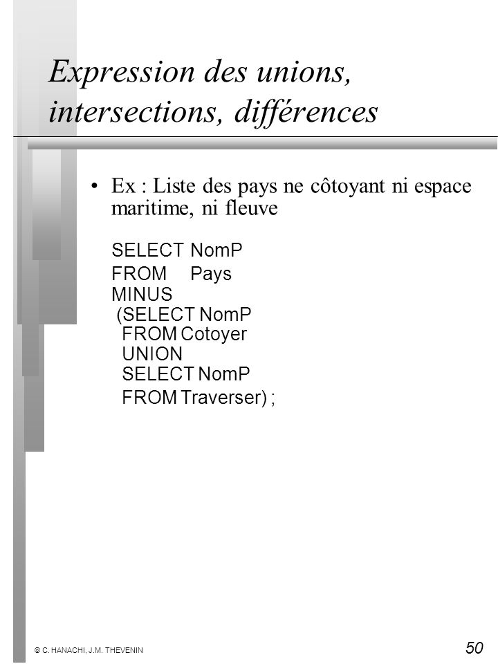 Expression des unions, intersections, différences