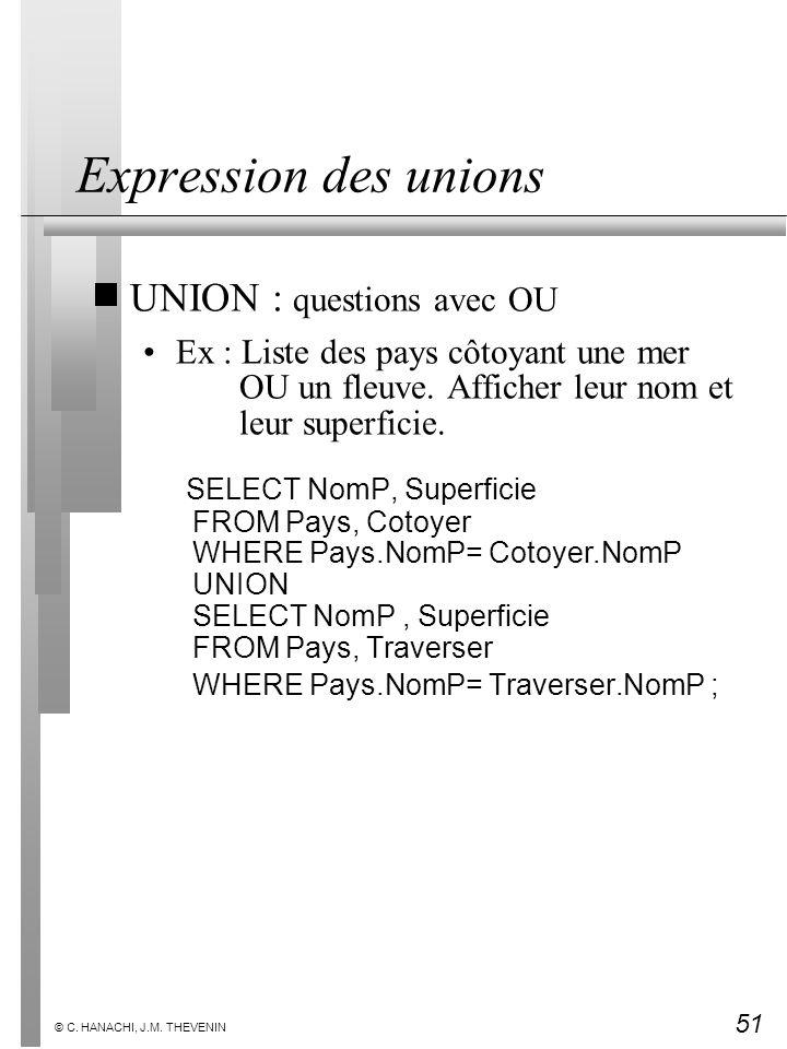 Expression des unions UNION : questions avec OU