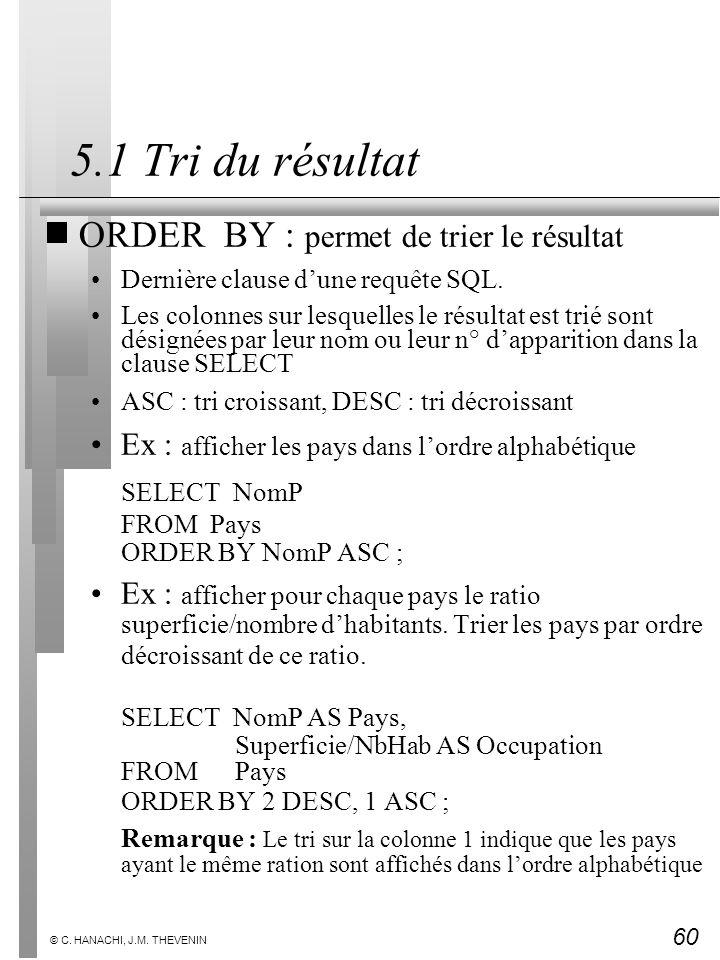 5.1 Tri du résultat ORDER BY : permet de trier le résultat