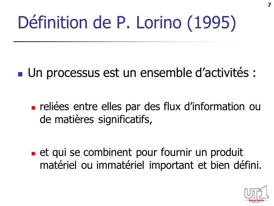 Définition de P. Lorino (1995)