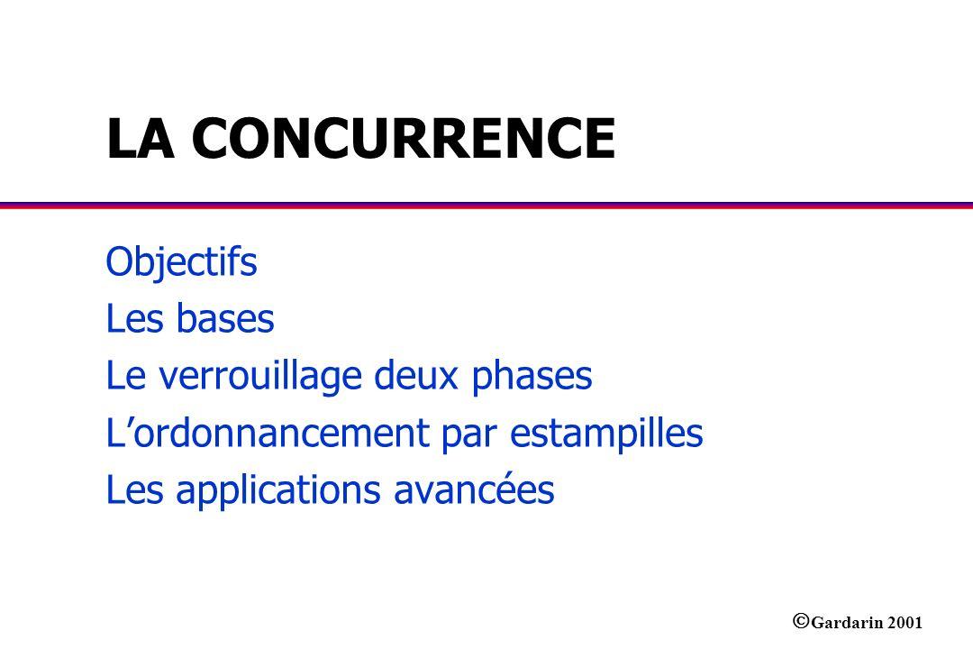 LA CONCURRENCE Objectifs Les bases Le verrouillage deux phases