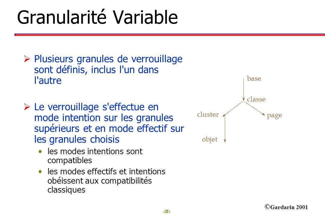 Granularité Variable Plusieurs granules de verrouillage sont définis, inclus l un dans l autre.