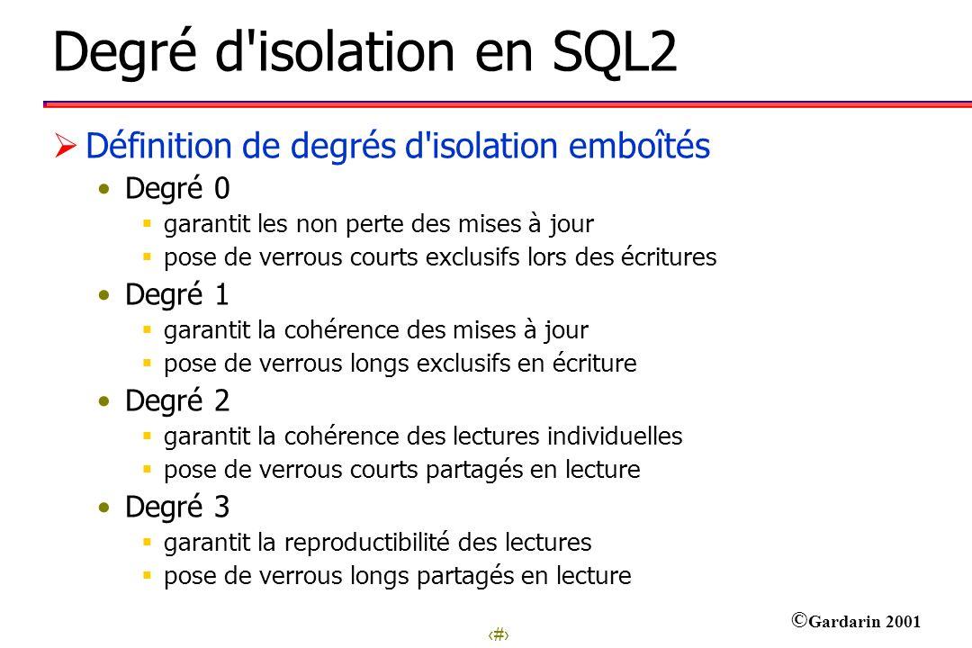 Degré d isolation en SQL2