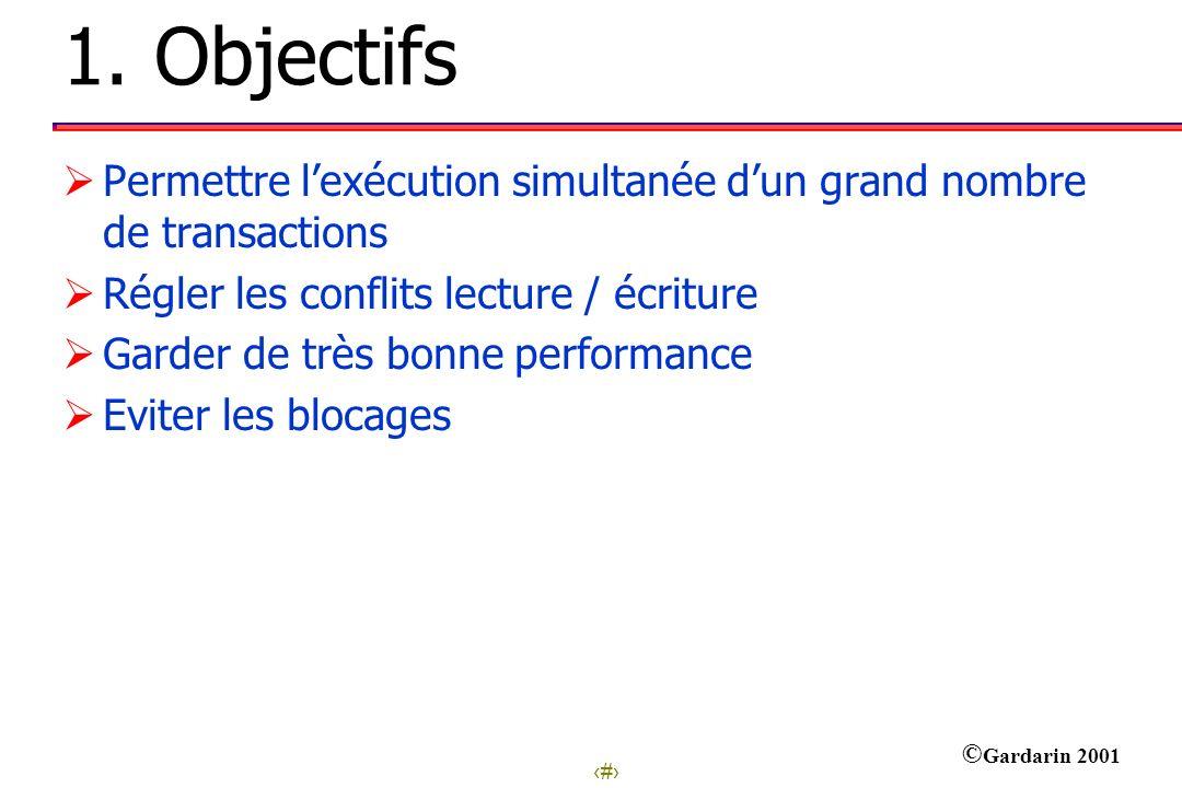 1. Objectifs Permettre l'exécution simultanée d'un grand nombre de transactions. Régler les conflits lecture / écriture.