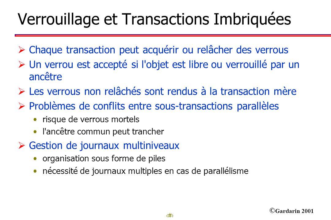 Verrouillage et Transactions Imbriquées