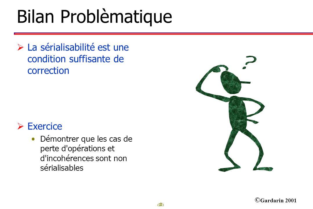 Bilan Problèmatique La sérialisabilité est une condition suffisante de correction. Exercice.