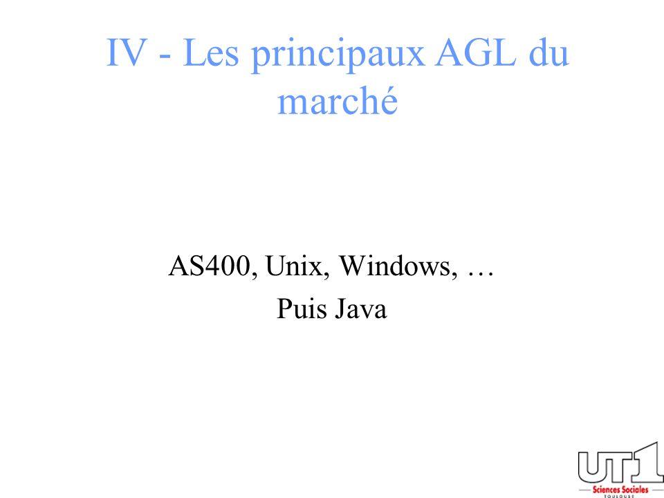 IV - Les principaux AGL du marché