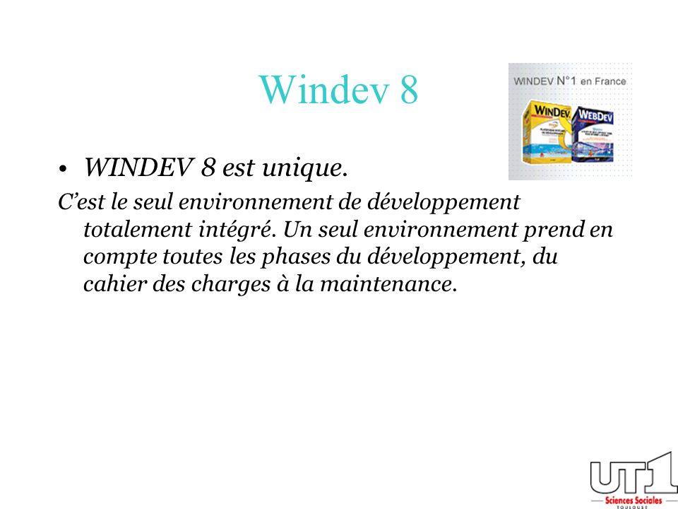 Windev 8 WINDEV 8 est unique.