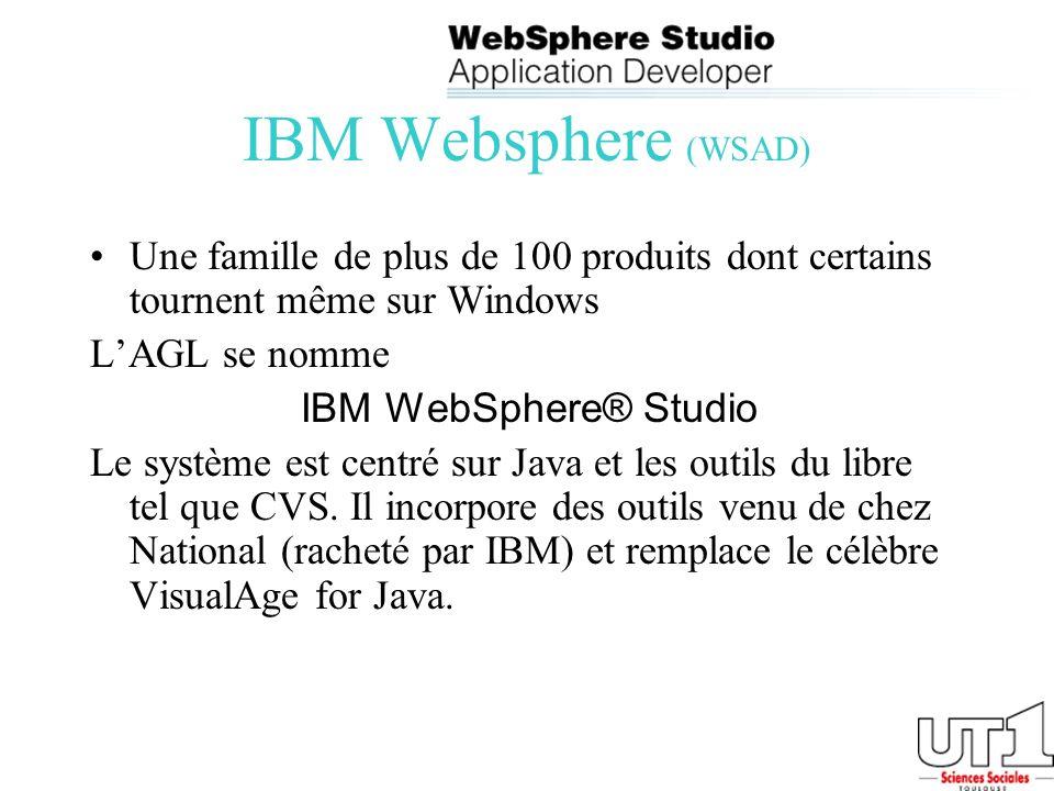 IBM Websphere (WSAD) Une famille de plus de 100 produits dont certains tournent même sur Windows. L'AGL se nomme.