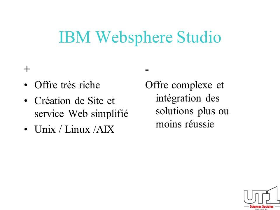 IBM Websphere Studio + Offre très riche