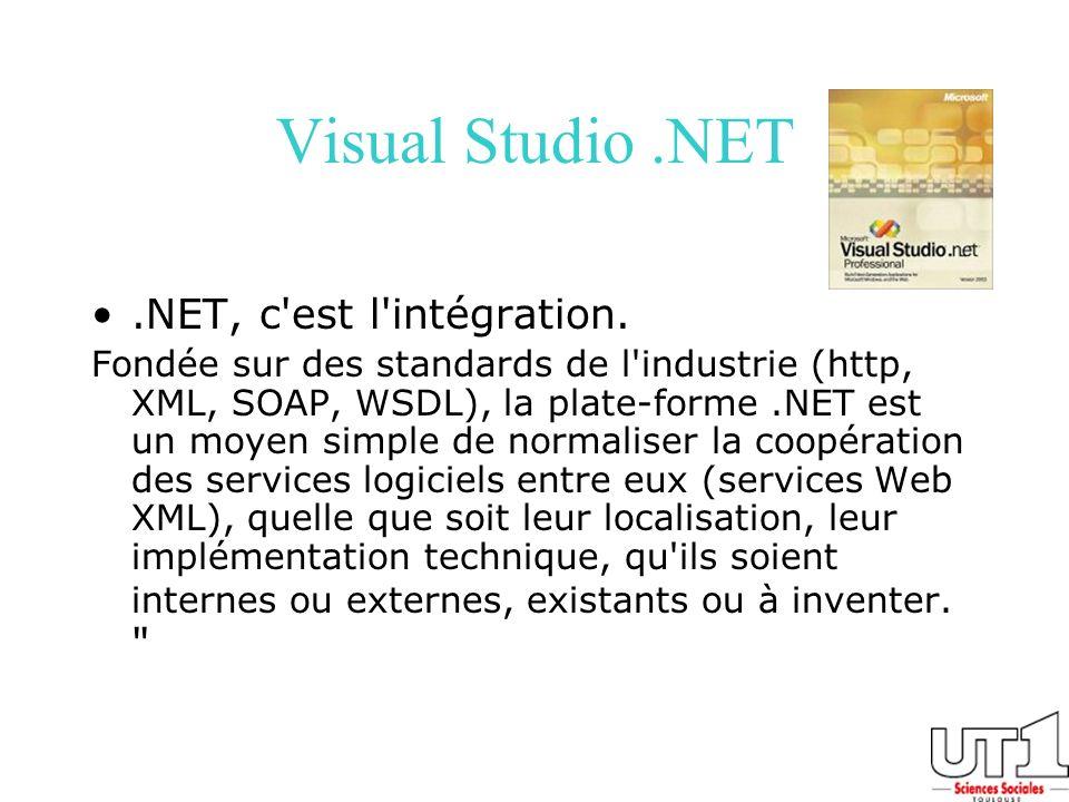 Visual Studio .NET .NET, c est l intégration.