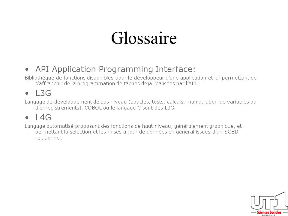 Glossaire API Application Programming Interface: L3G L4G