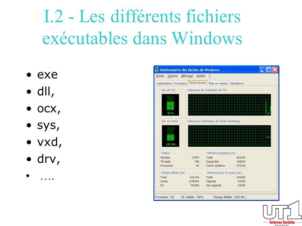 I.2 - Les différents fichiers exécutables dans Windows