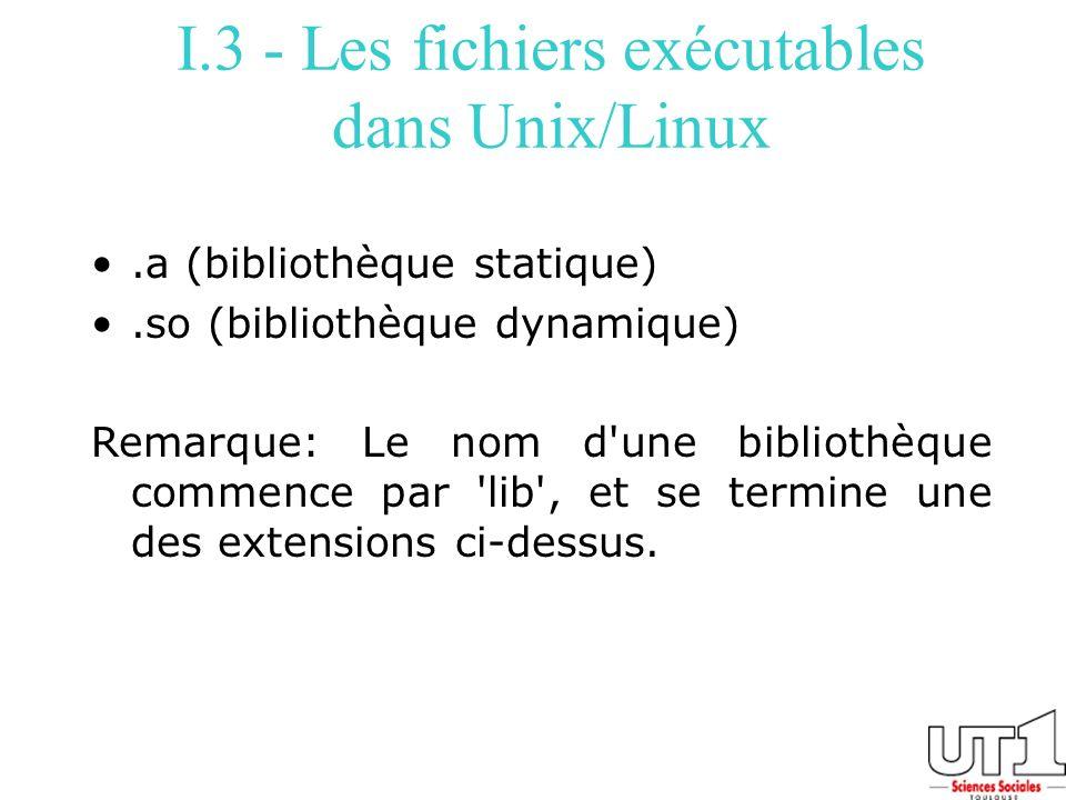 I.3 - Les fichiers exécutables dans Unix/Linux
