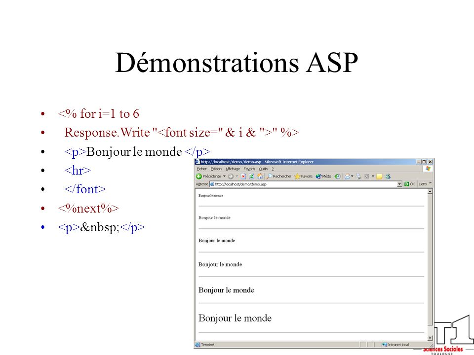Démonstrations ASP <% for i=1 to 6