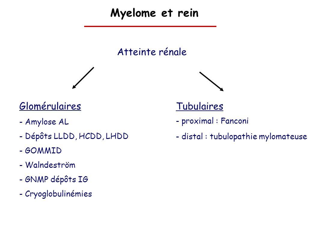 Myelome et rein Atteinte rénale Glomérulaires Tubulaires Amylose AL
