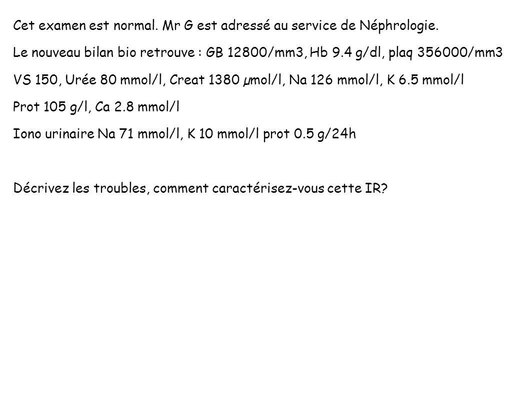 Cet examen est normal. Mr G est adressé au service de Néphrologie.