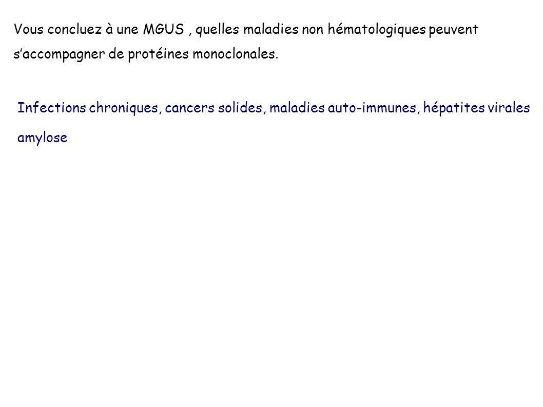 Vous concluez à une MGUS , quelles maladies non hématologiques peuvent