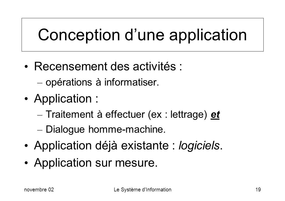Conception d'une application