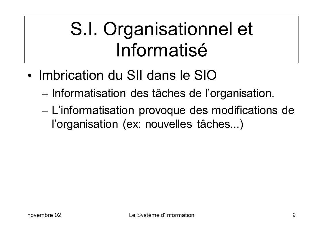 S.I. Organisationnel et Informatisé