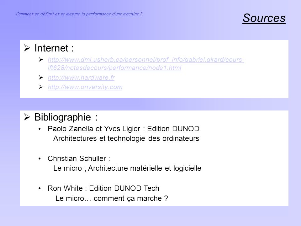 Sources Internet : Bibliographie :