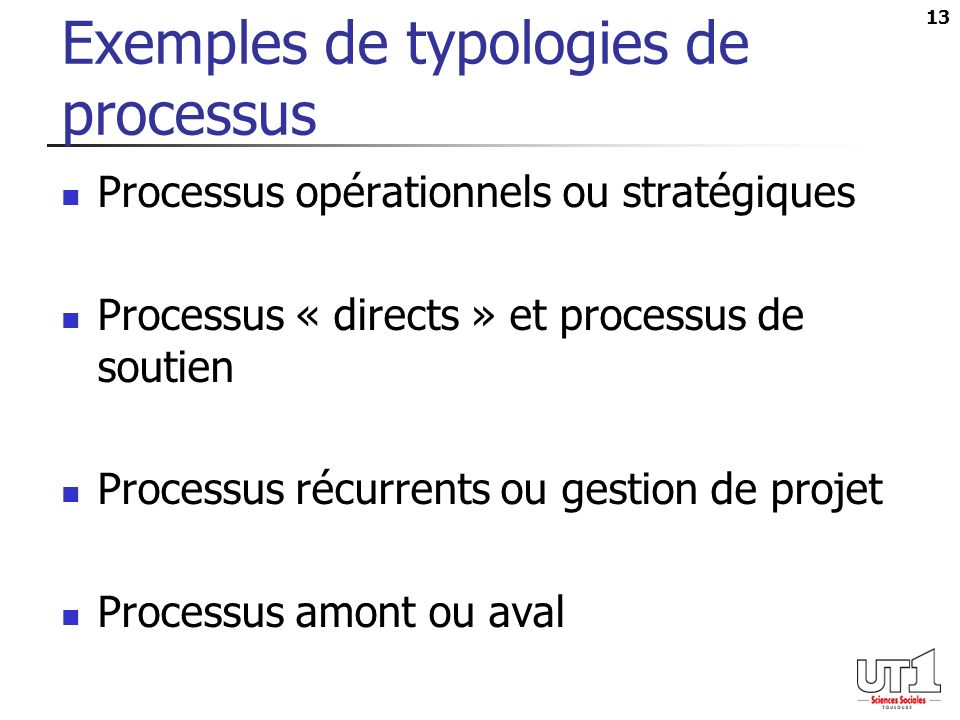 Exemples de typologies de processus