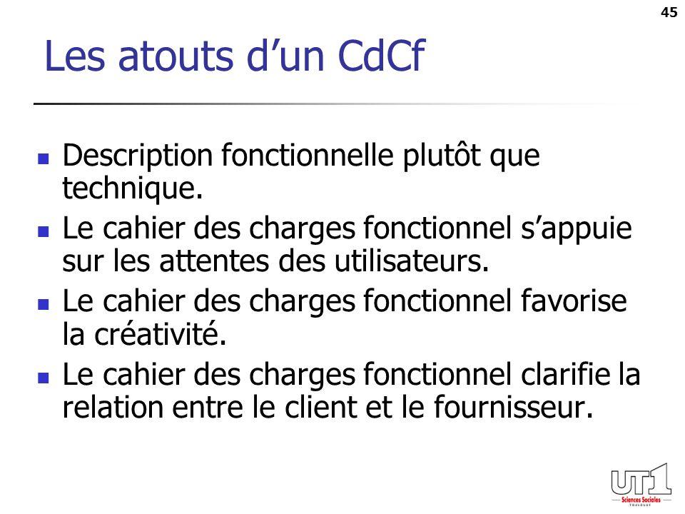 Les atouts d'un CdCf Description fonctionnelle plutôt que technique.