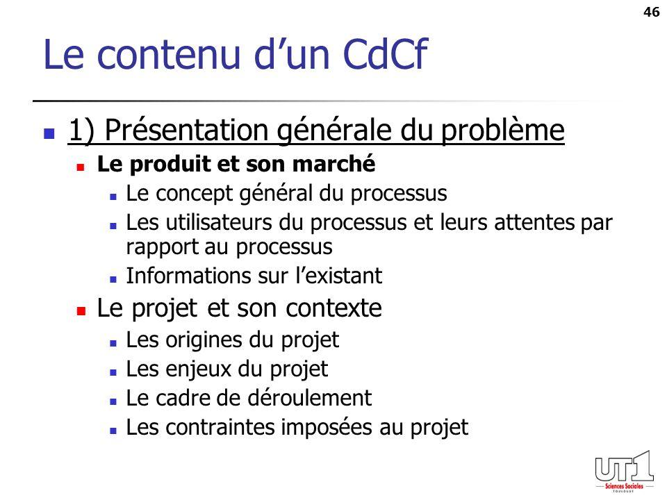 Le contenu d'un CdCf 1) Présentation générale du problème
