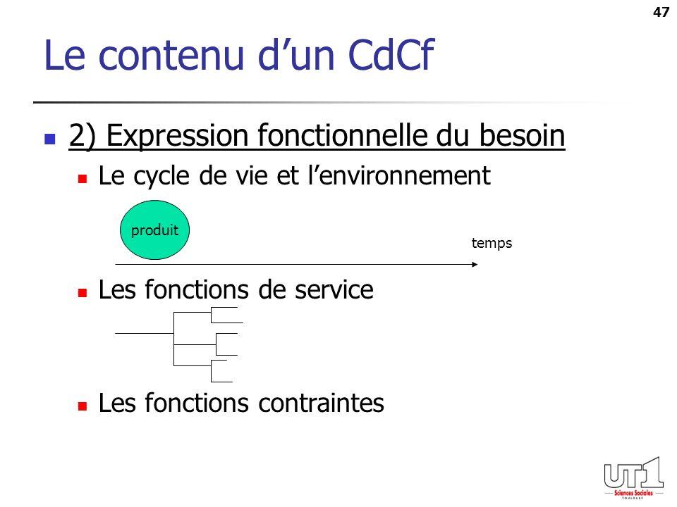 Le contenu d'un CdCf 2) Expression fonctionnelle du besoin