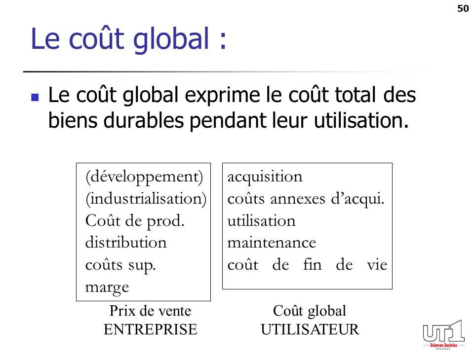 Le coût global : Le coût global exprime le coût total des biens durables pendant leur utilisation. (développement) acquisition.