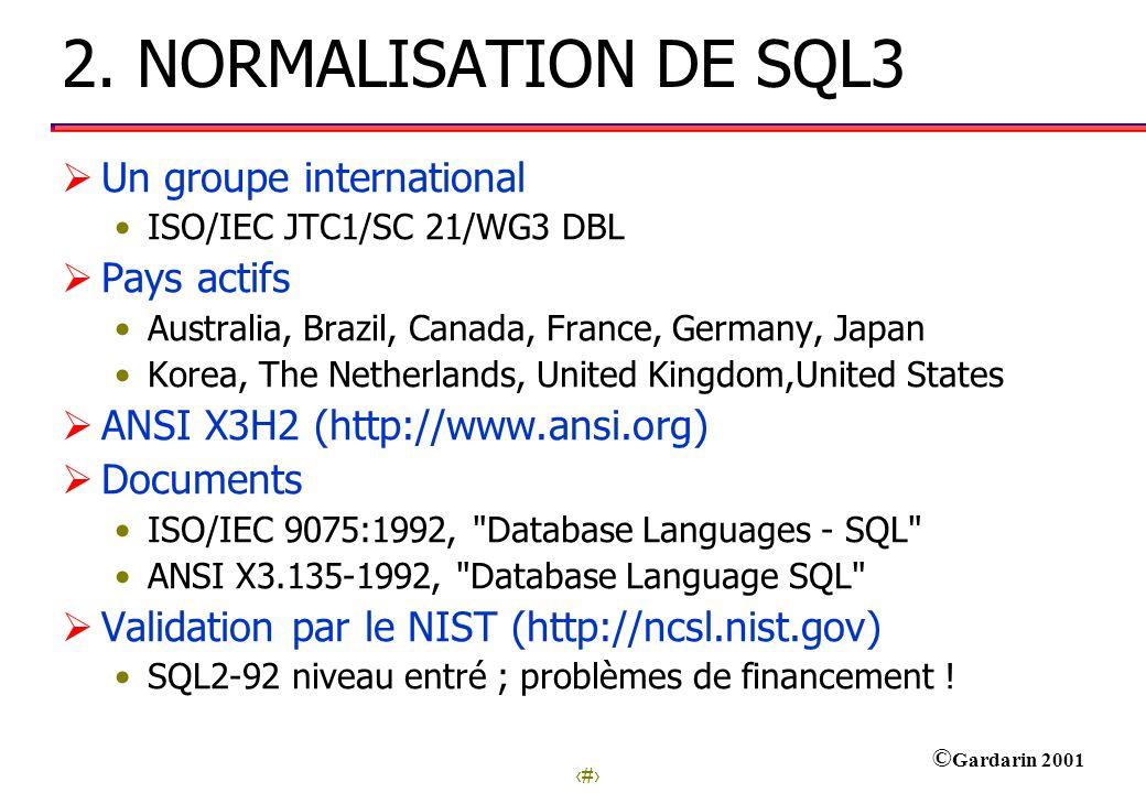 2. NORMALISATION DE SQL3 Un groupe international Pays actifs