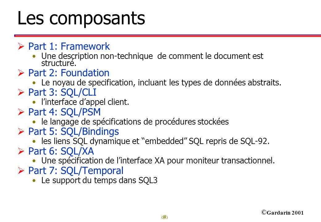 Les composants Part 1: Framework Part 2: Foundation Part 3: SQL/CLI