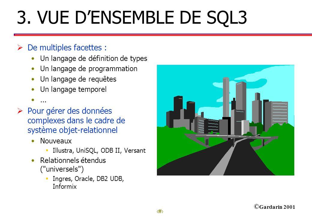 3. VUE D'ENSEMBLE DE SQL3 De multiples facettes :
