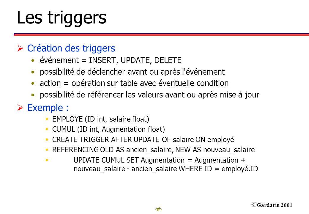 Les triggers Création des triggers Exemple :