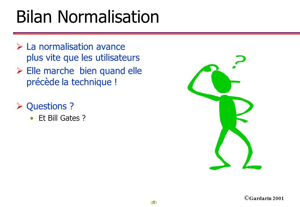 Bilan Normalisation La normalisation avance plus vite que les utilisateurs. Elle marche bien quand elle précède la technique !