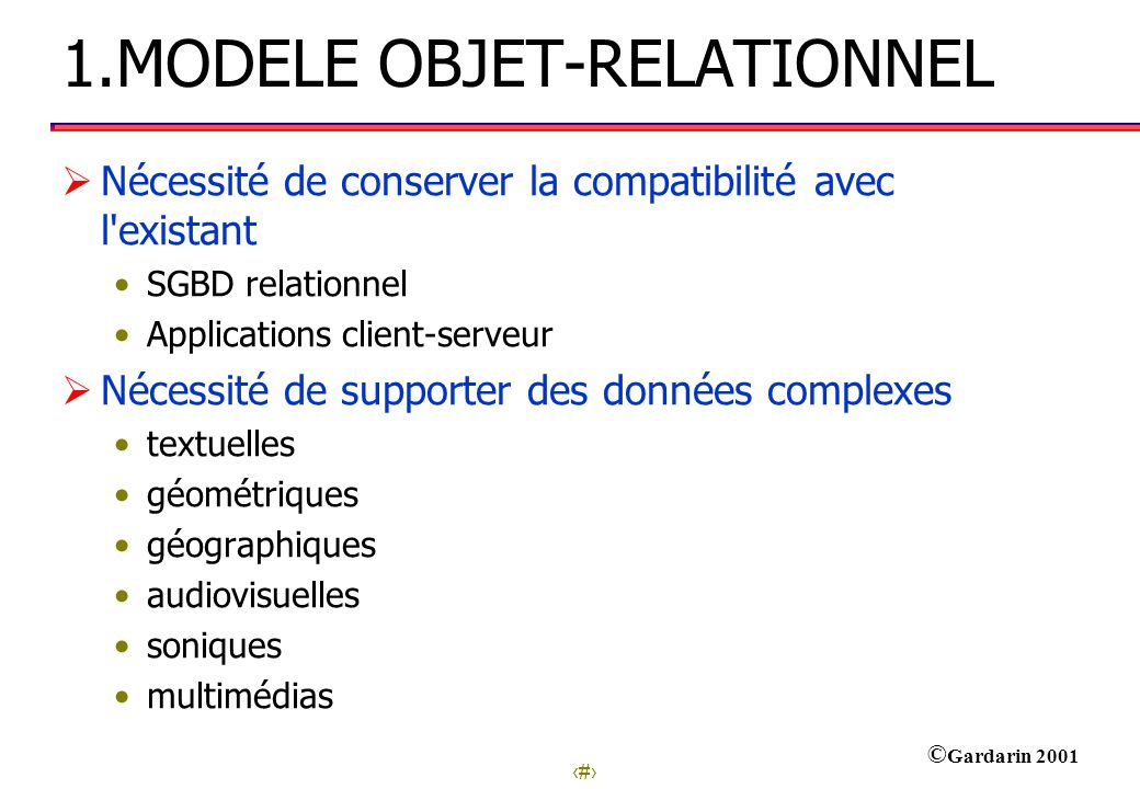 1.MODELE OBJET-RELATIONNEL