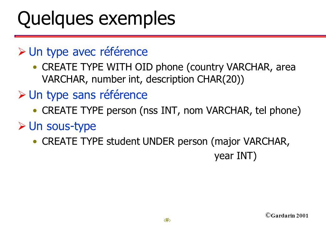 Quelques exemples Un type avec référence Un type sans référence