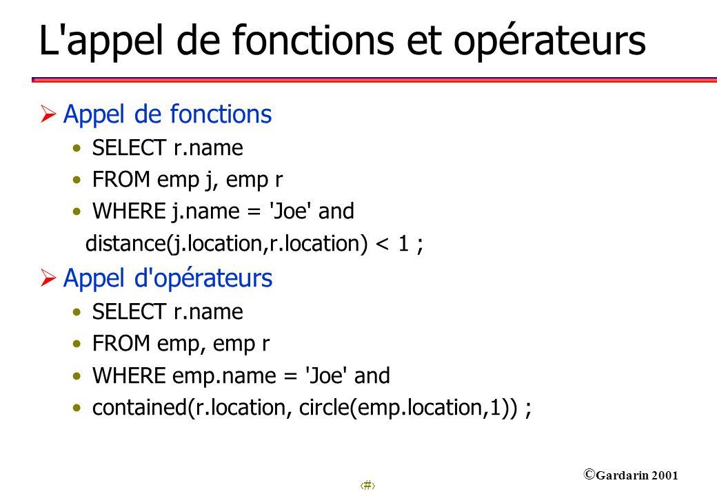 L appel de fonctions et opérateurs