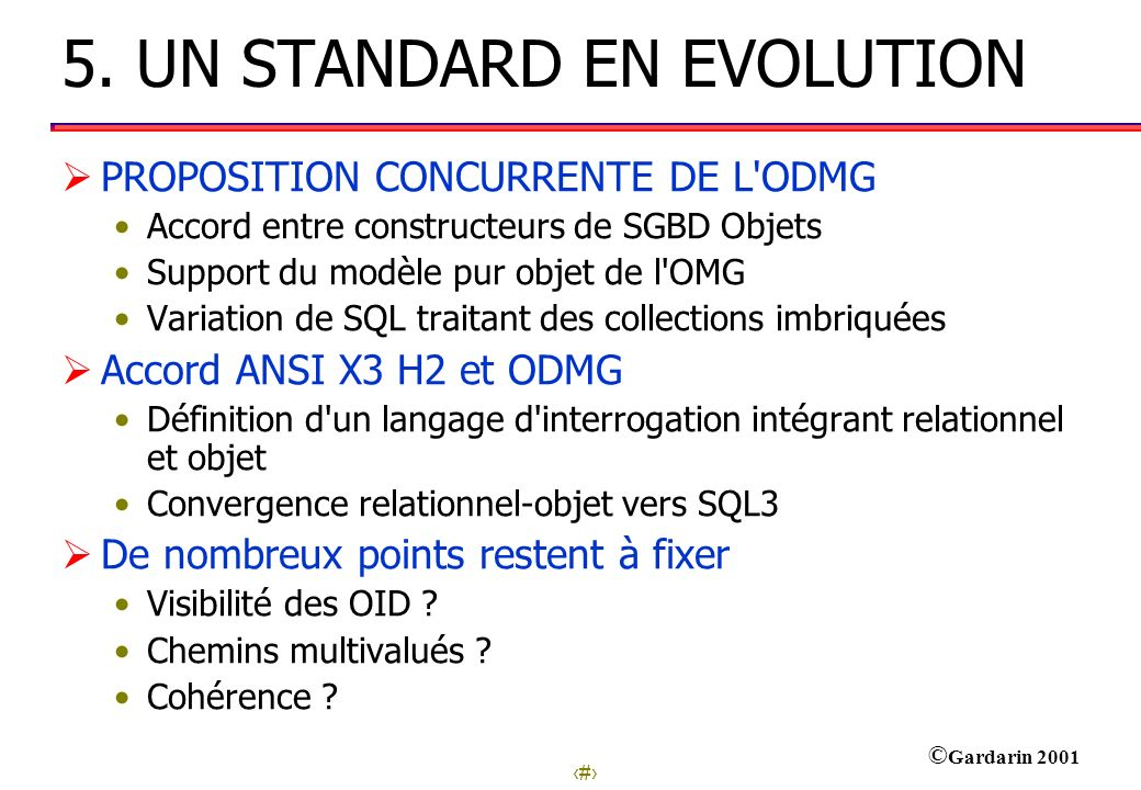 5. UN STANDARD EN EVOLUTION